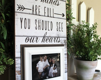 Family Portrait Picture Frame   Personalized Family Picture Frame   Farmhouse Style   Rustic Home Decor Ideas   Fixer Upper Style