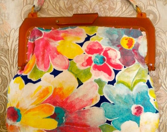 Pretty Spring Floral Cotton Purse