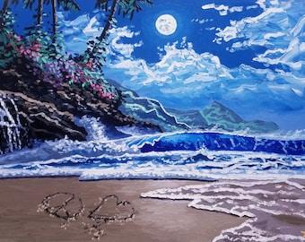 Beach decor / large wall art / moon art / oil painting / surf art / canvas art / coastal wall art / seascape / tropical / original artwork