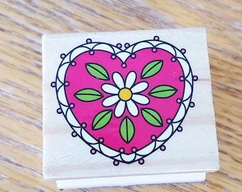 Heart with Flower Rubber Stamp