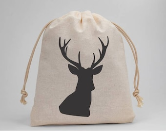 Deer Hunter, Hunting, Birthday Party, Favor Bags, Muslin Bags, Party Bags, Candy Bags, Treat Bags, Goodie Bags, Party Supplies
