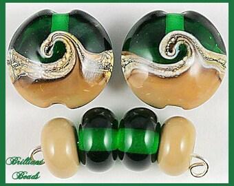 Sagebrush Swirls...Dark Green & Khaki Handmade Lampwork Bead Set SRA, Made To Order