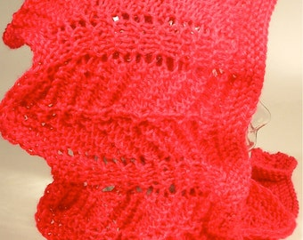 Womens Knit Cowl Lace Hood Scarf Neck Piece Chevron Red Waves