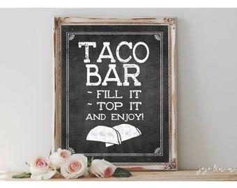 Instant 'TACO BAR' Printable Sign Chalkboard Printable Party Taco Bar Fiesta Decor Size Options