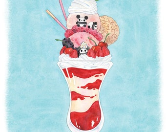 Pocket Pandas™ - Strawberry Parfait - 8.5x11 Print