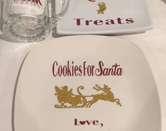 Personalized Santa and Reindeer Plate/Cups