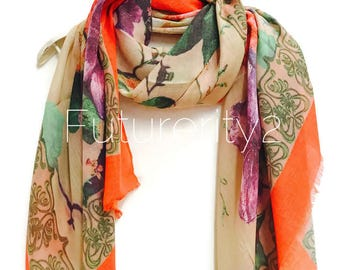 Multi Peonies With Orange Trim Beige  Scarf / Spring Summer Autumn Scarf / Gifts For Her / Women Scarves / Handmade Accessories