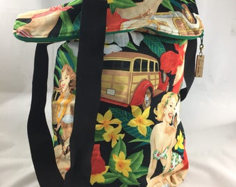 Retro Inspired Pinup & Woody Wagon Print Sack Bag