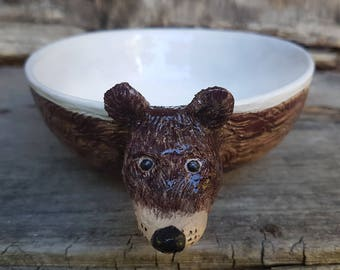 Bear Ceramic Bowl, Hand built pasta bowl, pottery bowl, soup bowl, serving bowl, planter, children tableware