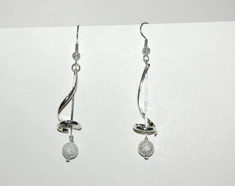 Silver beads and spiral earrings