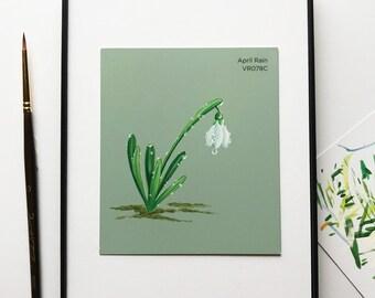 "Original miniature acrylic painting, ""April Rain"""
