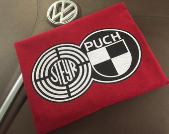 Steyr Puch Volkswagen Vanagon Syncro 2 color Full front print on Antique Red 100% cotton T-shirt S-4XL.