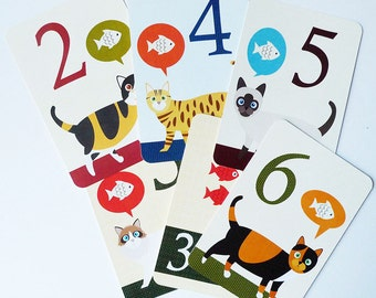 Counting flash cards -Count to ten - Counting cards - Children's educational flash cards- Cat numbers card - Number flash cards - Wall cards