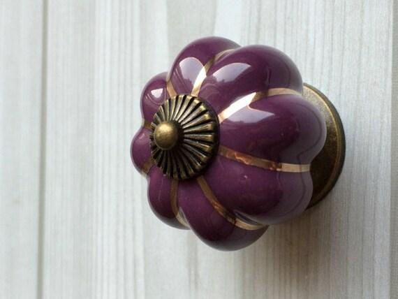 Purple Cabinet Knobs Pumpkin Knobs Kitchen Dresser Knob Drawer Knobs Pulls  Handles Ceramic Porcelain / Antique Bronze Decorative Hardware From  LynnsHardware ...