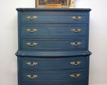 High Quality SOLD Vintage French Provincial Highboy Dresser, Hand Painted Chest Of  Drawers