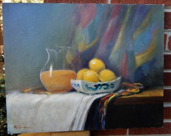 Vintage Still Life ORANGE Juice Pitcher LEMONS in Bowl Oil Painting ART c1980s