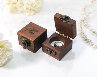 WALNUT ring bearer box wedding ring box ring box wedding wedding ring holder wedding  ring holder wood ring box ring boxes ring bearer