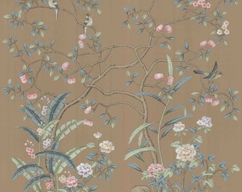 "Chinoiserie handpainted wallpaper and artwork: panel size 50"" x 65"""