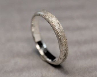 Elegant Thin Silver Ring, Sterling Band, Sand Cast  Rustic Textured Patterned Ring, Men's Women's Wedding Ring