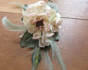 Peach Scabiose and Cream Rose Flower Corsage, Weddings, Proms or Events.