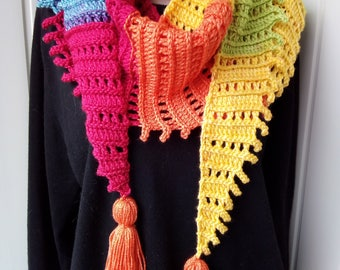 Scarf Crochet, Bright Scarf, Handmade Scarf, Rainbow Scarf, Warm Scarf, Gift for Her,   Scarf with brushes,  Ready for sending.