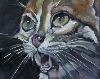 Original Cat Oil Painting on Paper 24cm × 20cm