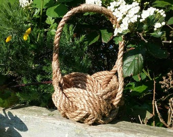 Rustic Flower Girl Basket, Bridesmaids,Spring, Summer Wedding, Natural Rope Knot Bowl with Handle. Rope Planter. Hand sewn, no glue used.