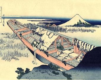 "Japanese Ukiyo-e Woodblock print, Hokusai, ""Ushibori in Hitachi Province"""