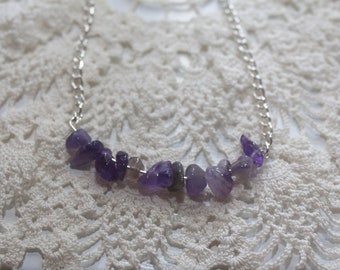 Amethyst Chip Silver Necklace