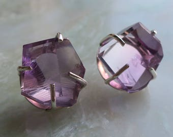 Ametrine Stud Earrings — Trystine Earrings, Amethyst/Citrine Earrings, Ametrine Jewelry, Sterling Silver Earrings