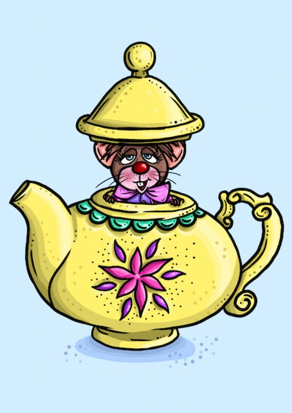 Items similar to Teapot Mouse- Alice in Wonderland A4 Art Print by ...