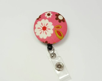Retactable ID Badge Reel / ID Badge Holder / Name Badge Clip / Badge Pull / Button Badge Holder - Flowers on Coral