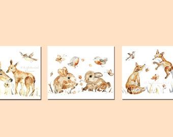 Woodland Animal Prints, Baby Girl Nursery, Print Set, Woodland Nursery Decor, Animal Nursery Art, Baby Girl Gift, Watercolor Animal Prints