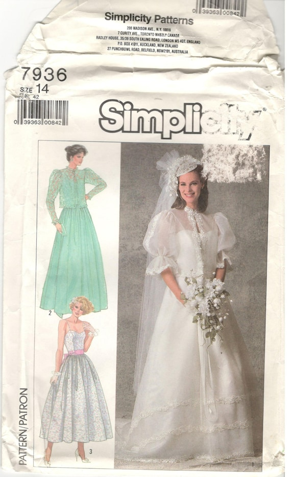 Simplicity 7936 size 14 Women\'s bridal gown sewing pattern. Bridal ...