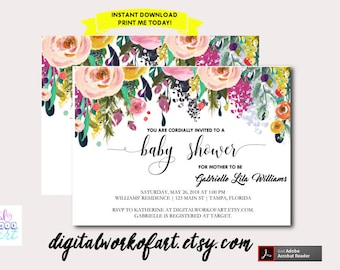 Baby Shower Invitation Template, DIY Editable Baby Shower Template, PDF Instant Download, Watercolor Floral Baby Shower Invitation, BABY2017