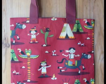 """Fabric library bag, lined """"Indians"""" perfect for the nursery or kindergarten."""