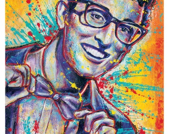 "12 x 18"" Art Print Poster - Buddy Holly - Rave-auf - 1950s 1960s Musik retro vintage"