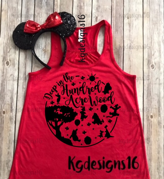 Winnie The Pooh Tank Top-Hundred Acre Wood Shirt-Vacation Shirt-Bella Canvas Flowy Tank Top-Loose Fit-30 Colors