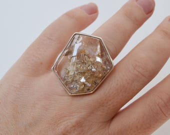Clear Garden Quartz Crystal Ring, Sterling Silver Statement Ring, OOAK Bezel Set Ring, Lodolite Ring