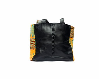 Handmade Black Leather Tote Bag with Kente Cloth Accent