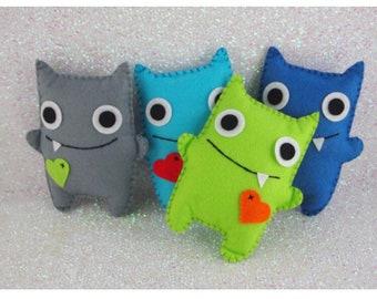 Boys Felt Monsters, Adopt A Monster, Monster Party, Felt Monsters, Monster Plushie, Monster Themed Party, Monster Party,  Felt Party Favor