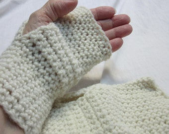 """White Fingerless Gloves Alpaca Wool 7.5"""" Long Reversible Large Hand 7"""" Around Crochet knit Unique Fathers Day Gift Womans Mans Mitt Warm"""