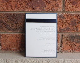 AMANDA - *Sample*  Formal Navy and White Layered Wedding Invitation includes reply card and envelopes