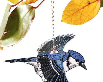 Bluejay oiseau Mobile, papier d'art, bricolage, papier craft, métier de l'oiseau, enfants métier, mobile bébé