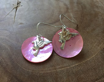 Fly 2 - Pair of limited edition dangling earrings with light pink mother of pearl and silvertone earhooks and flying bird charms. shell