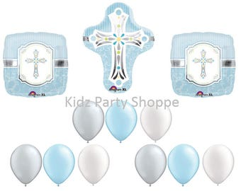 Blue + Silver Cross Balloon Set [12pc] Baptism Christening First Communion Eucharist Confirmation Religious Decorations Party Supplies
