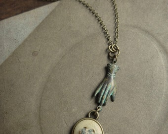 Vintage Button and Verdigris Hand Necklace - Come Undone