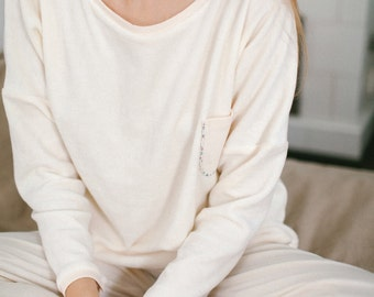 Soft milky velours pajamas set of shirt and pants
