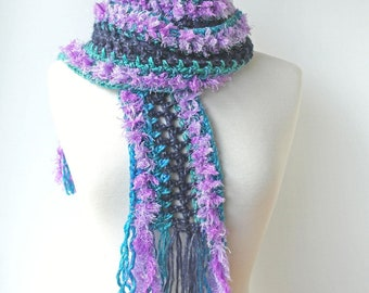 Long Skinny Boho Scarf with Fringe - Blue Striped Winter Crochet Knit Scarf - Womens Knitware