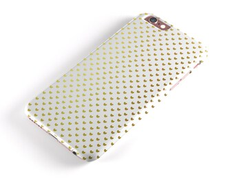 Tiny Golden Hearts Pattern - iNK-Fuzed Hard Case for the Apple iPhone - Samsung Galaxy & More